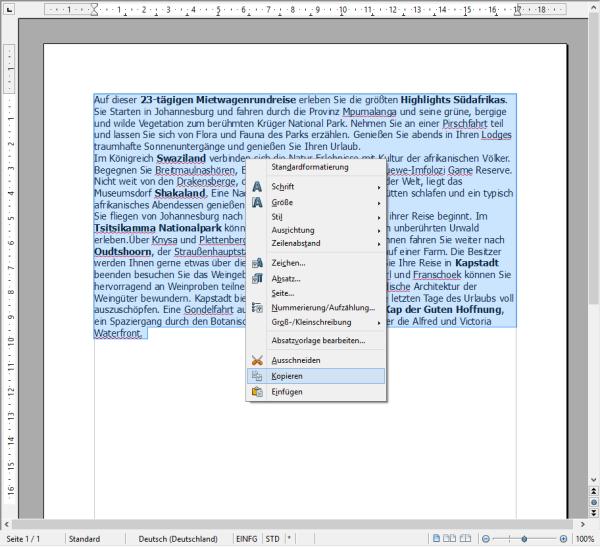 Text auswählen und kopieren - Einpflegen von Texten