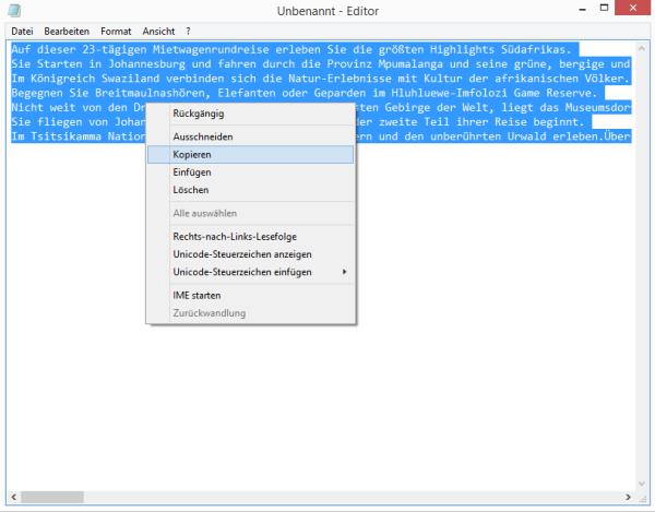 Unformatierten Text auswählen und kopieren - Einpflegen von Texten